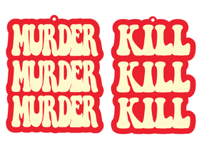 Copy of Reserved for Megan: Murder Murder Murder Kill Kill Kill Earrings Peach & Red - Black Heart Creatives