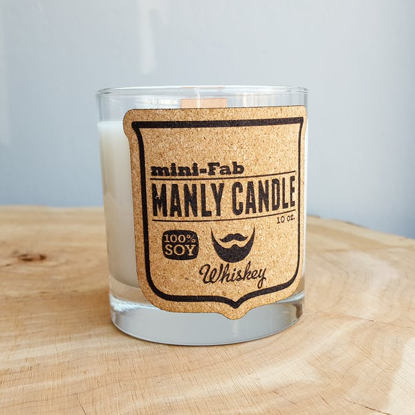 Image of Whiskey Glass Man Candle - Whiskey Scent - Manly Natural Soy Candle Hand Poured with Wood Wick