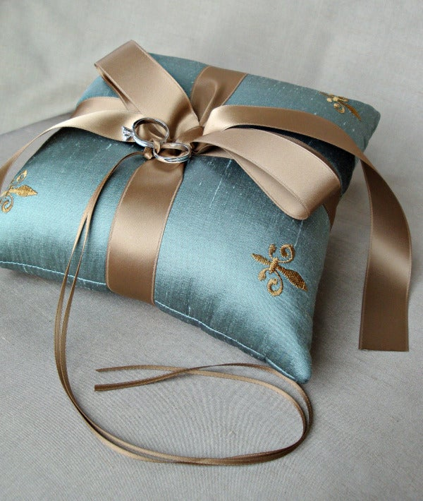 Image of Fleur de Lis Silk Dupioni Ring Bearer Pillow