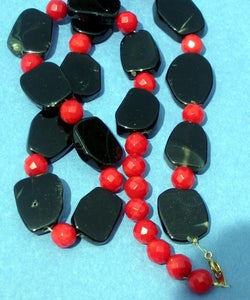 Image of Asynmetrical Onyx Slice and Coral Necklace