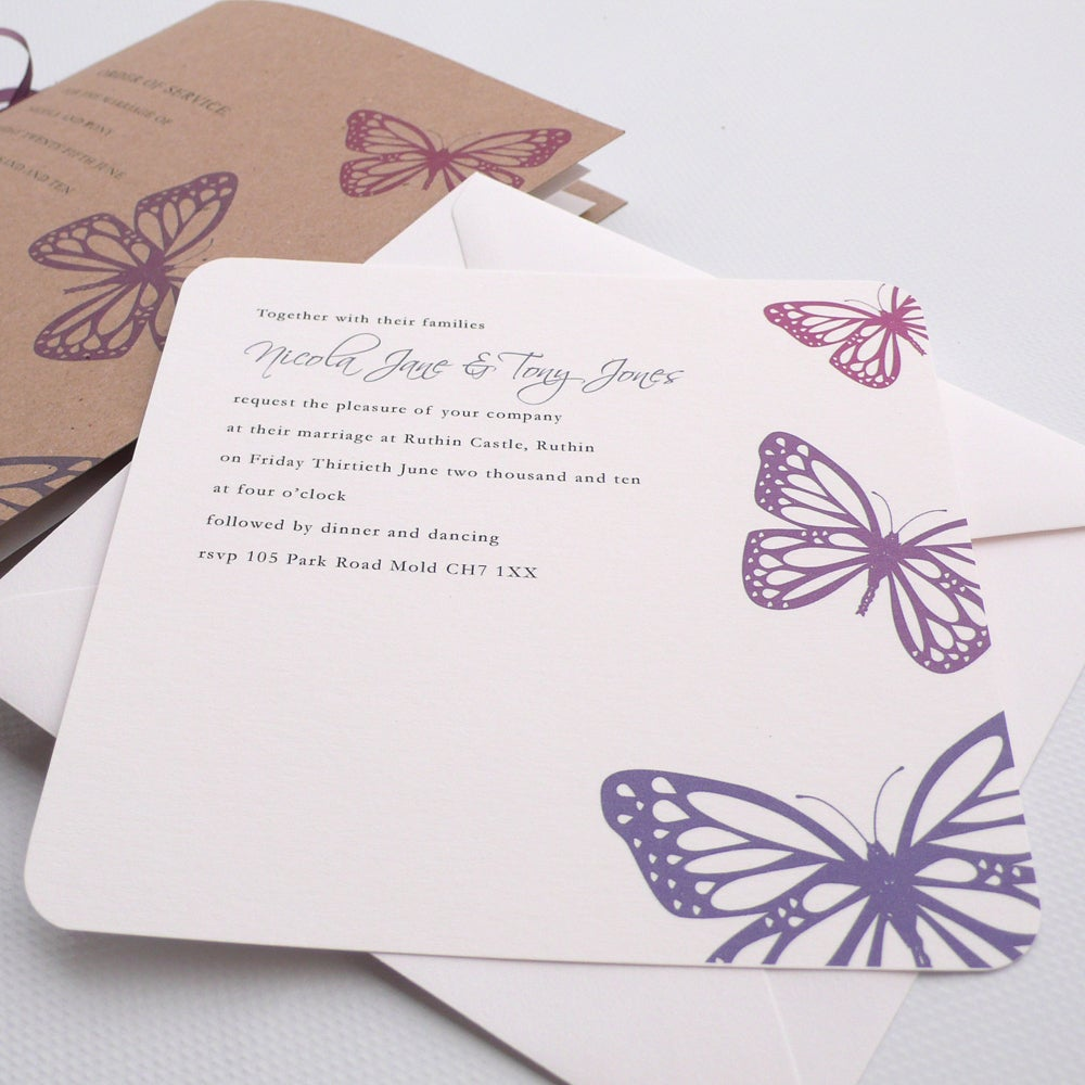 75 flat style butterfly wedding invitation butterfly design in berry ...