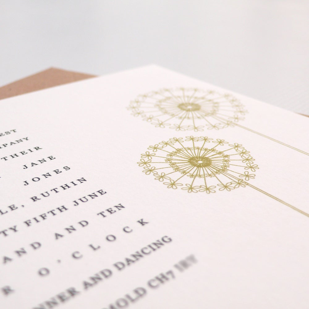 gooseberrymoon wedding invitations dandelion