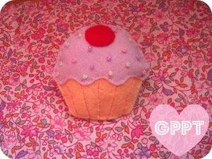 Image of Yummy cupcake pin.