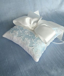 Image of Blue and White Vintage Trim Silk Ring Bearer Pillow