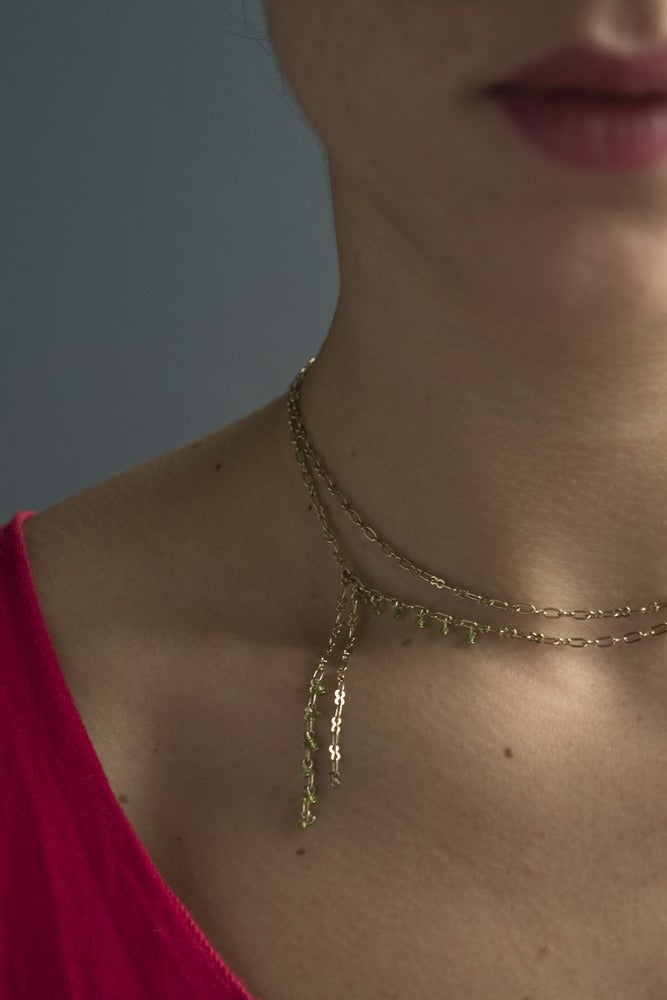"Image of Collier Perle ""Cravate"" / Chaine Laiton"