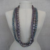 Image of hand dyed wood bead necklace, 1 strand