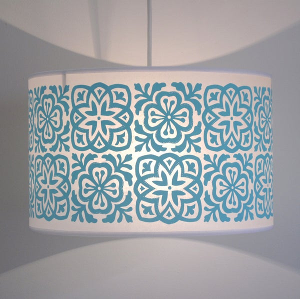 Image of Wide Tub Drum Moroccan Tile Turquoise