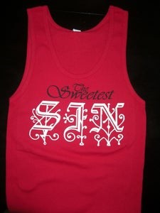 "Image of ""SIN"" TANK TOP RED"