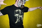 Image of 1AEON black men's tee with a golden Wolf (bigc)
