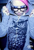 Image of 1AEON NEW! Eco organic and recycled grey zip hoodie with GIGANTIC OWL - size unisex (bigc)