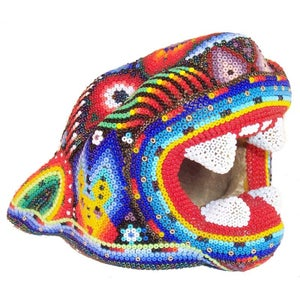 Image of Huichol Indian Beaded Jaguar Head With Yellow Deer Heads - SOLD