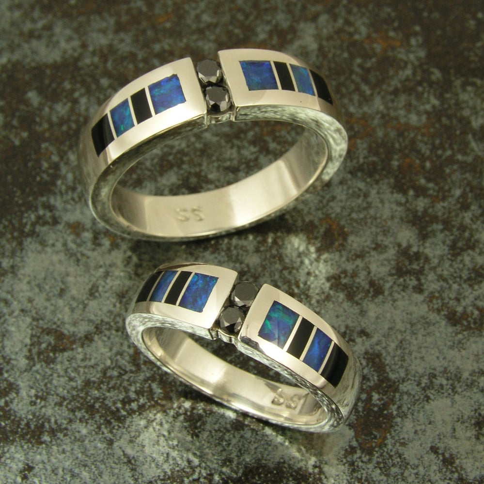 Image of Black diamond sterling wedding set inlaid with onyx and opal
