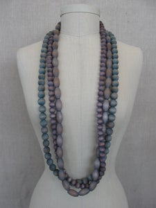 Image of hand dyed wood bead necklaces, 3 strands
