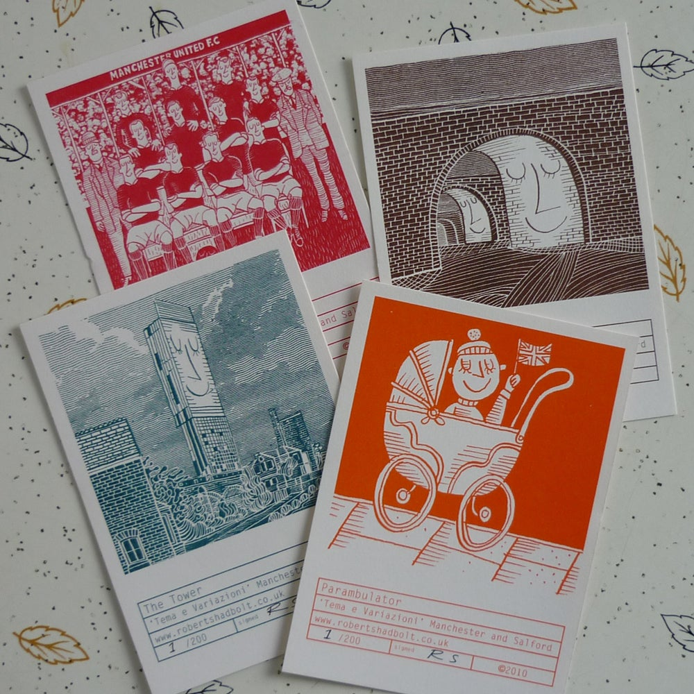 Image of Robert Shadbolt riso print set - Manchester & Salford