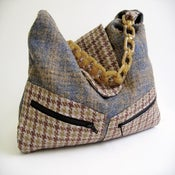 Image of Blue and Brown Tweed 'Vivienne' Bag...