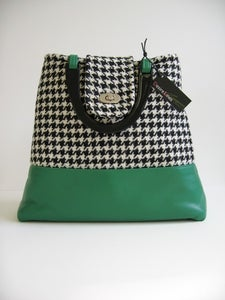 Image of Green Leather and Houndstooth Tweed 'Dr' Bag...