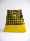 Image of Yellow/Brown Shetland Rosette Tweed and Yellow Leather 'Dr' Bag...