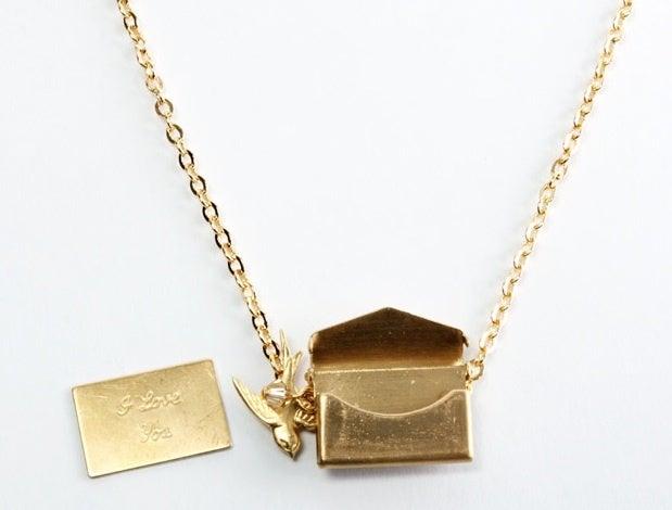 Image of gold envelope necklace