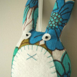 Image of Lavender rabbit in turquoise and cobalt blue