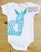 Image of Zebra One-piece (Blue on White)