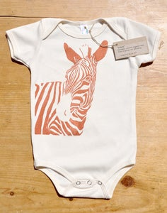 Image of Zebra Organic One-piece (Copper on Natural)