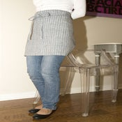Image of Linen Cafe Apron-Blue and White Small Checkered