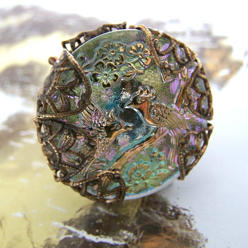 Image of SALE Vintage Peacock Cocktail Ring