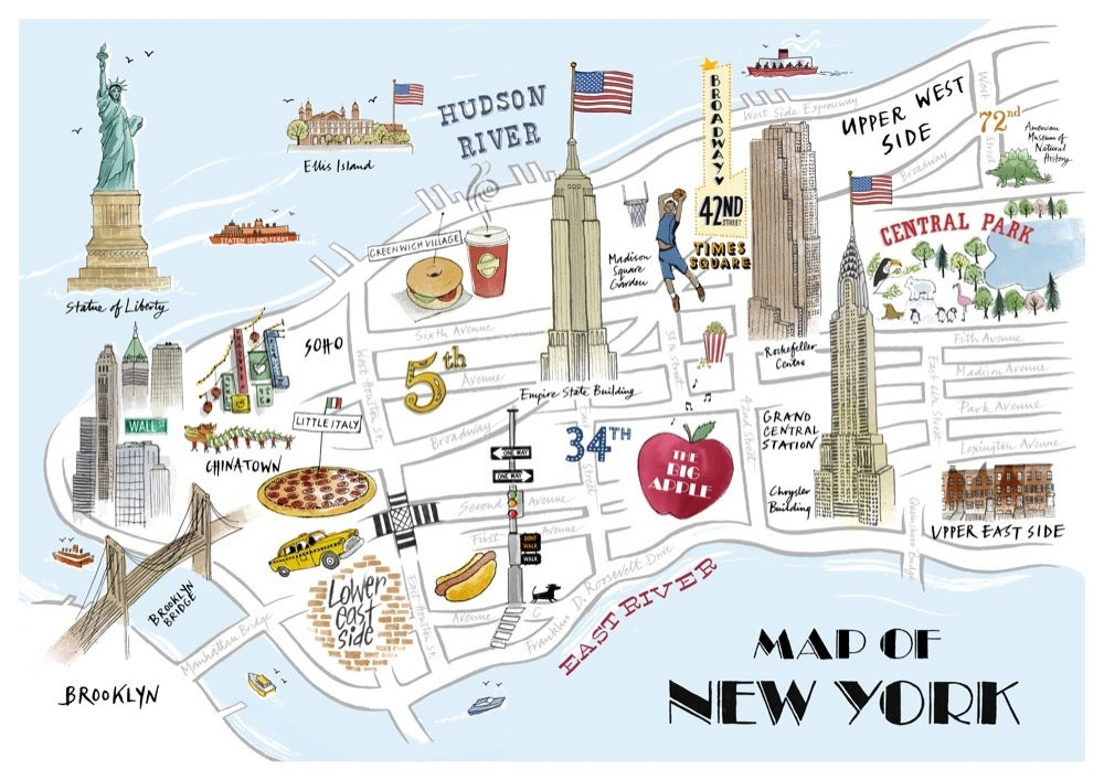 Tait Map Of New York Print Alice Tait Shop - Ney york map