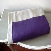 Image of Linen children's blanket/Playmat in a Tote Bag -Deep Purple