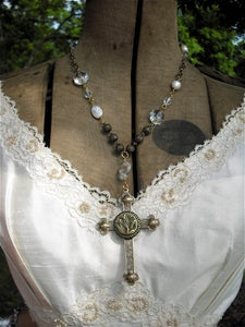 Image of Grandmother's Buttons: Crystal Prism Cross Necklace