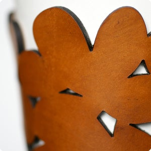 Image of NEW! leather cozy/cuff SNAP - prairie tan