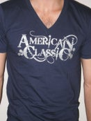 Image of American Classic V Neck T Shirt (BLUE)