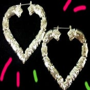 Image of Ghetto Mama Bamboo Heart Earrings