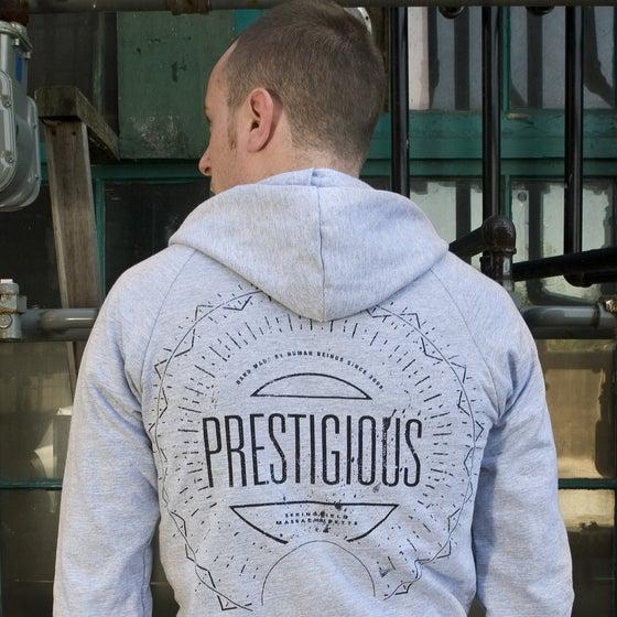 Image of American Apparel 100% cotton heather gray California fleece unisex hoodie - Badge