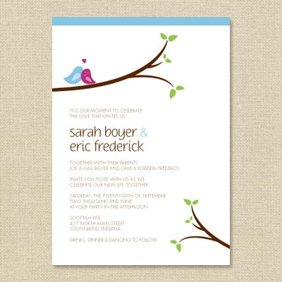 Image Of Sarah Love Bird Wedding Invitation