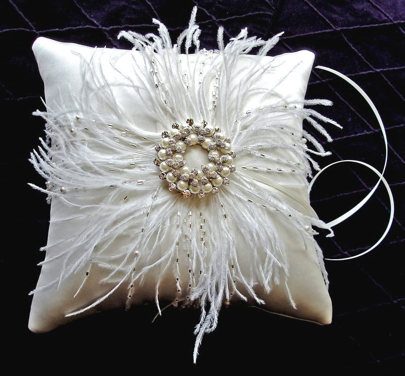 Image of Grace Beaded Feather Silk Ring Bearer Pillow