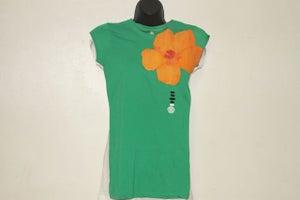 Image of Hibiscus - Orange on Green Tee