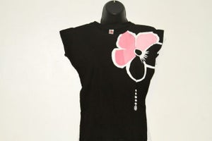 Image of Hibiscus - Negative w/ Pink on Black Tee