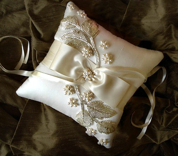Image of Falina Pearl Ivory Silk Ring Bearer Pillow