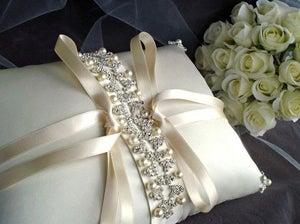 Image of Isadora Rhinestone Beaded Ivory Silk Ring Bearer Pillow