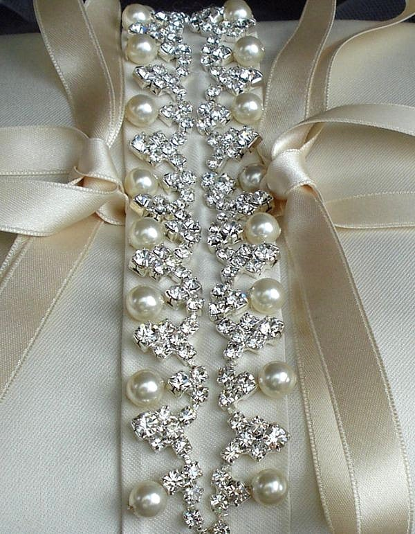 Image of Isadora Rhinestone Beaded Ivory Silk Ring Bearer Pillow