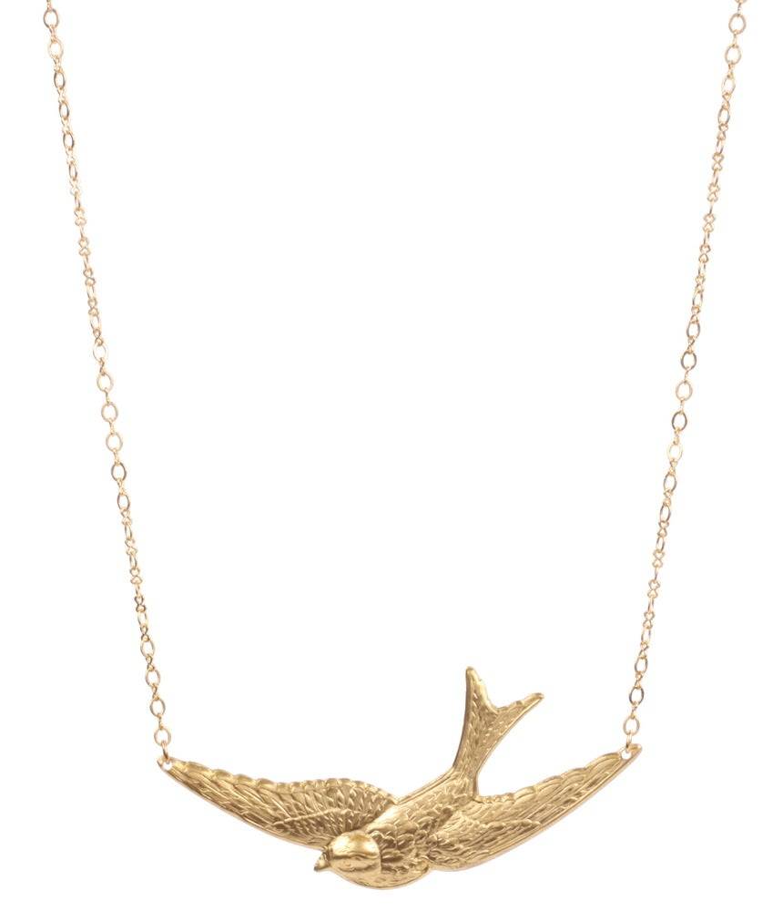 Image of gold swallow necklace