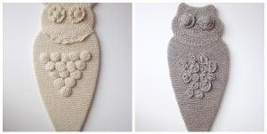 Image of custom hand-knit owls