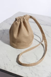Image of Waffle Knit Drawstring Pouch (Long Strap)