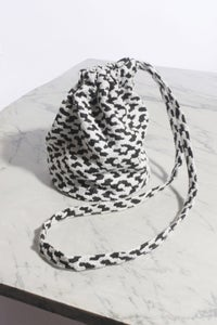 Image of Leopard print vintage cotton drawstring pouch (Long Strap)
