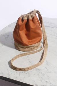 Image of Two Tone Waffle Drawstring Pouch (Long Strap)