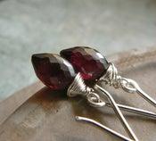 Image of Red Garnet Drop Earrings in Sterling Silver - Vampire Tears