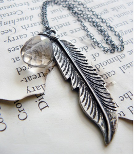 Image of Smokey Quartz Feather Necklace in Oxidized Sterling Silver - Feathered Treasure