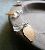 Image of Brass Leaf and Rock Crystal Necklace - Glass tree's