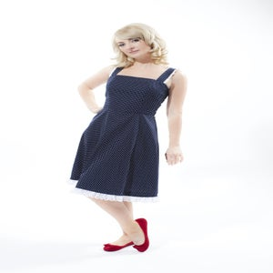 Image of 'Kitty' dress - Navy Blue with White Pindot